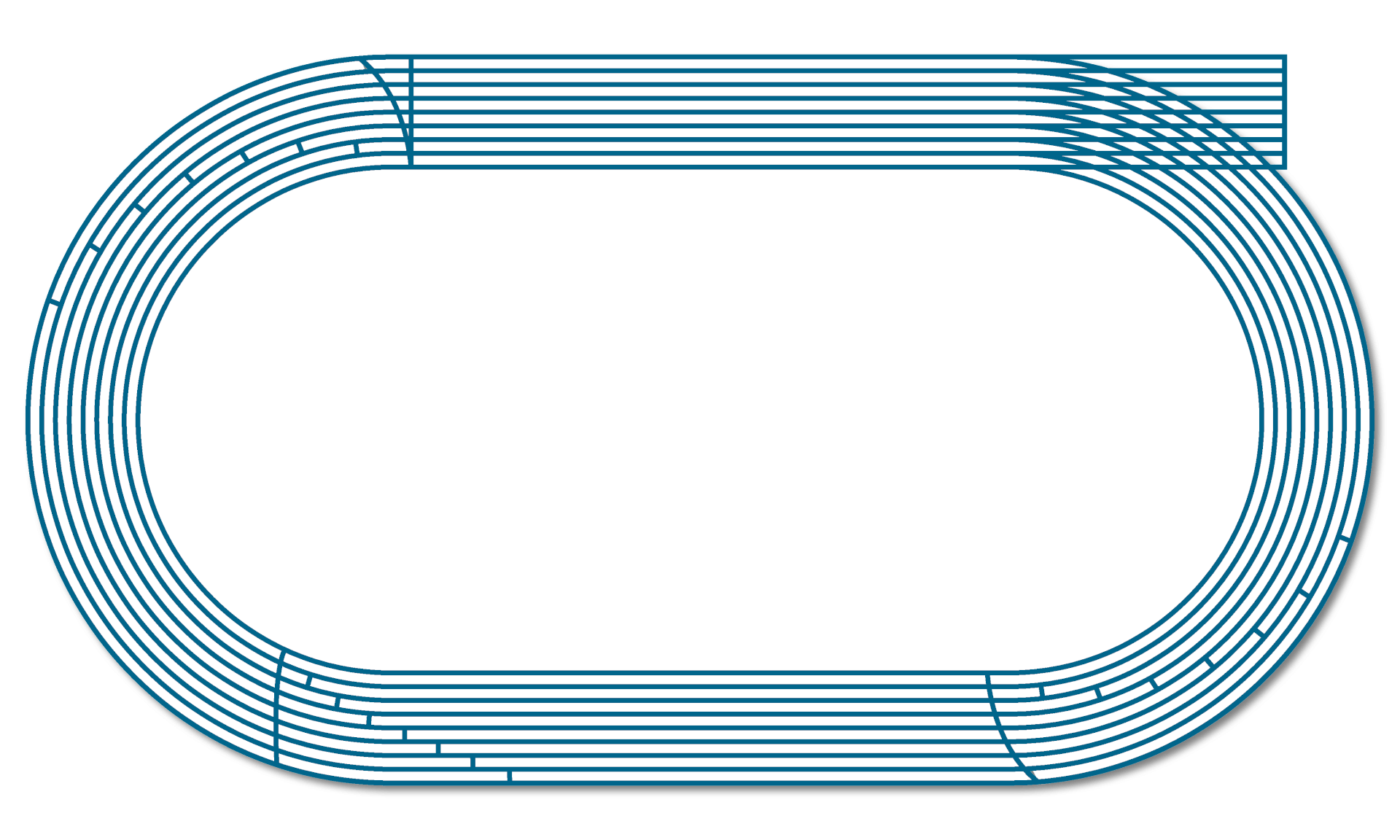 Example of 400 m running track layout with automatic line marking