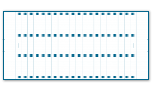 Example of American Football field layout with automatic line marking