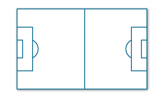 Example of soccer pitch layout with automatic line marking