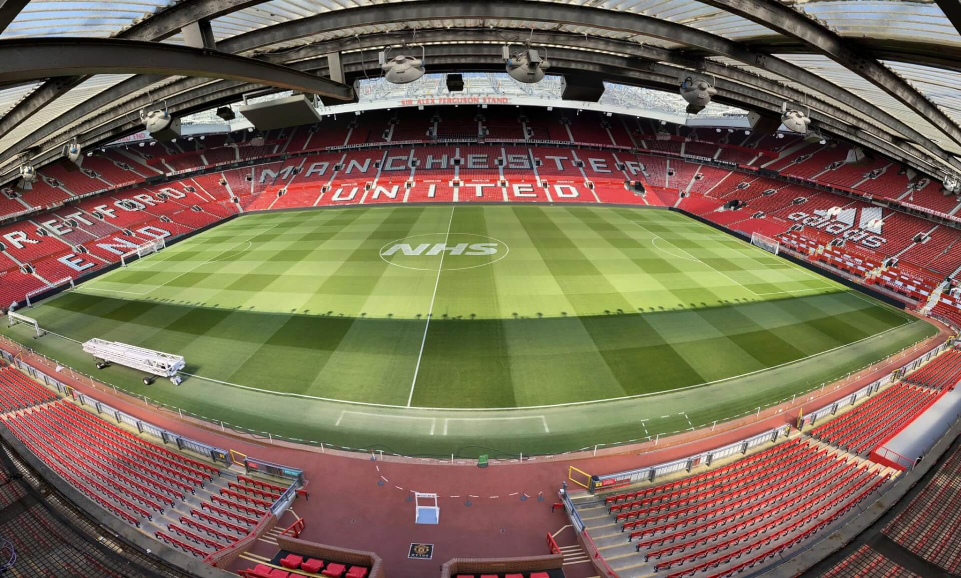 Logo marking for NHS at Old Trafford with Manchester United