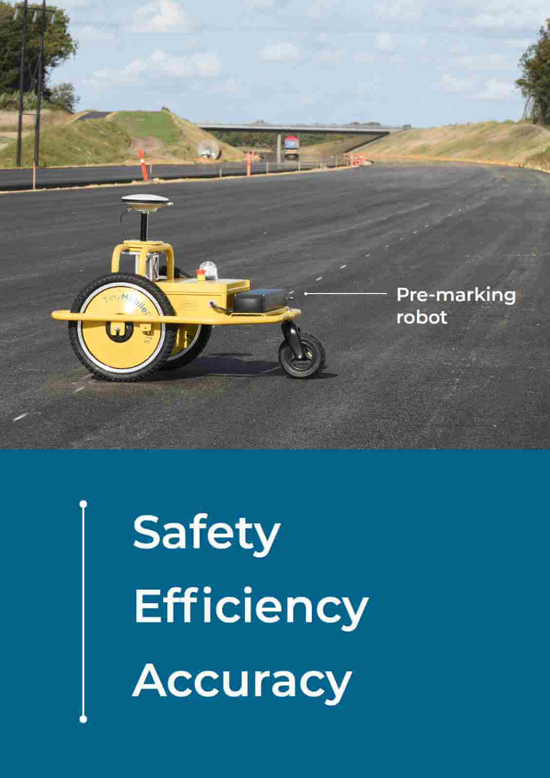TinyPreMarker robot for road pre-markings and surface works