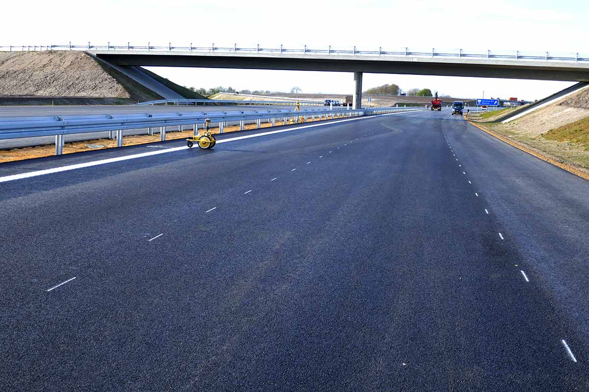 Road pre-marking for road construction and road line painting